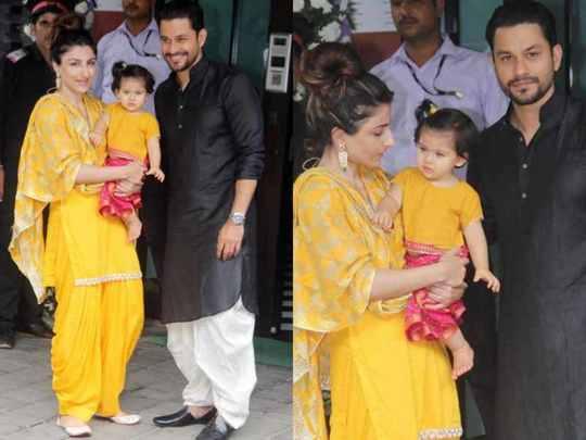 soha ali khan celebrating ganeshotsav with daughter inaaya in marathi