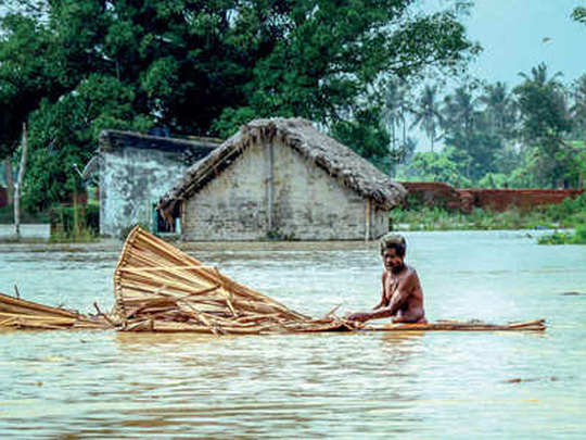 see flood situation pictures in india in which state what is condition