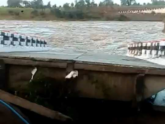 bridge washed in seoni: newly constructed bridge fell in river at seoni madhya pradesh