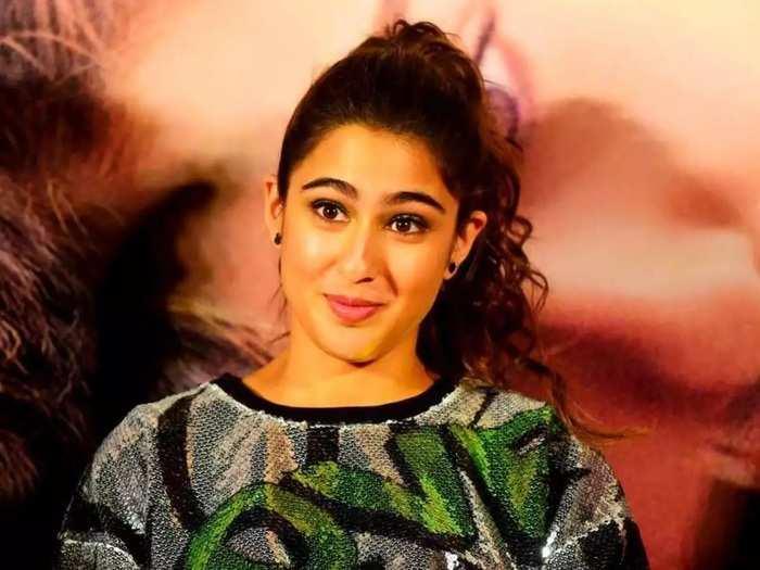 bollywood actress sara ali khan short denim stylish dress look in marathi
