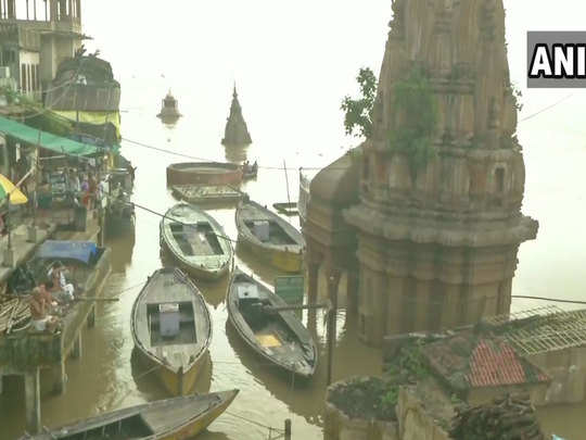 flood in many uttar pradesh districts varanasi ghats on the bank of river ganga submerged due to increase in water level