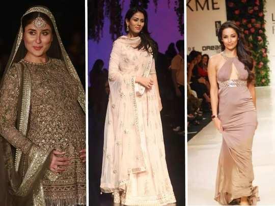 bollywood fashion kareena kapoor khan mira rajput did ramp walk in their pregnancy in marathi