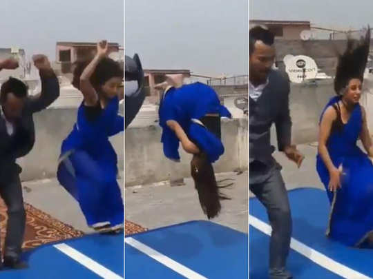 Woman in saree does a front flip