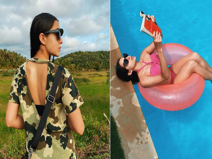 sara ali khan different moods once become gulabo in swimming pool then wears camouflage dress to hide from 2020