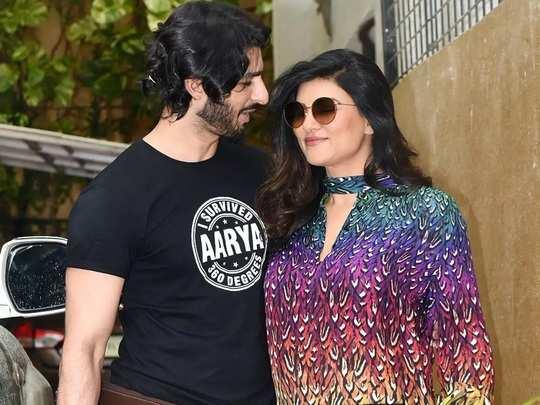 bollywood actress sushmita sen and rohman shawl super stylish look photo in marathi