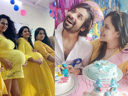 actress puja banerjee baby shower with hilarious cake and surprise by husband kunal verma and friends