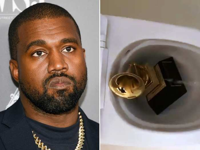 Kanye West Peeing on Grammy Award