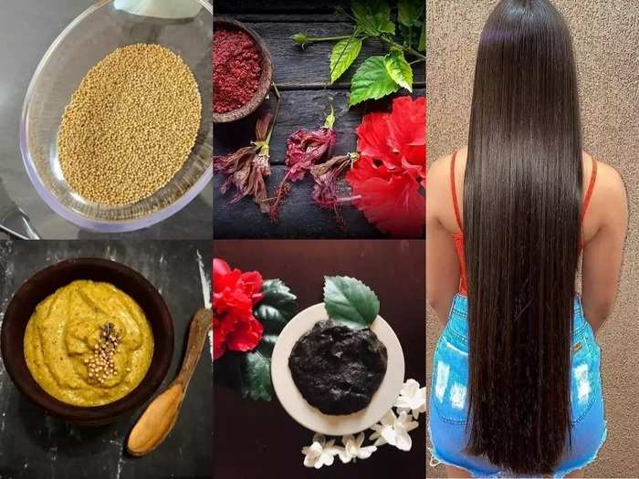 diy hibiscus flower and mustard hair pack for hair growth and strong hair in marathi