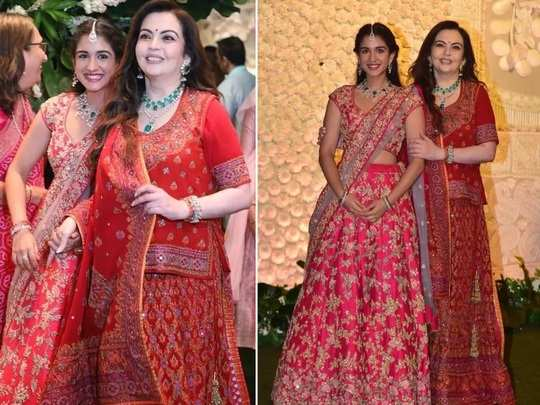 nita ambani daughter in law radhika merchant gorgeous designer lehenga photo in marathi