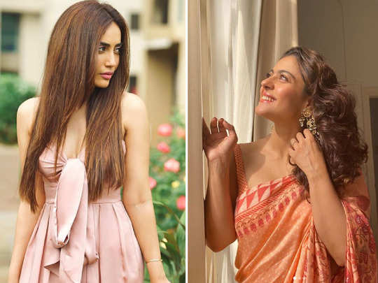 kajol saree look steals the limelight from surbhi jyoti off shoulder powder pink dress