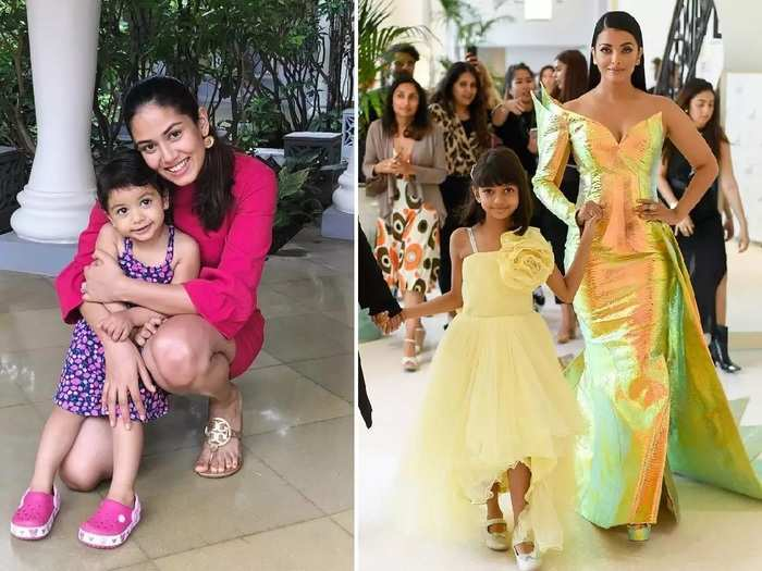 bollywood fashion celebrity mother and daughter matching outfits photo in marathi