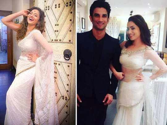 ankita lokhande shares photo in a white sari fans made its connection with sushant singh rajput