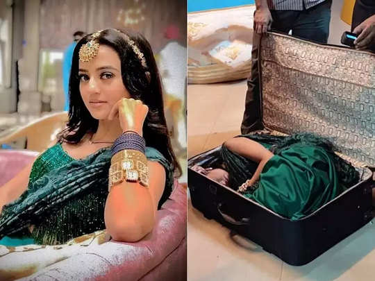 Helly Shah shows how she fit into the suitcase