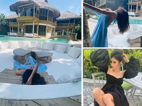 mouni roy and mandira bedi chilling at a lavish maldives resort shared her vacation pictures
