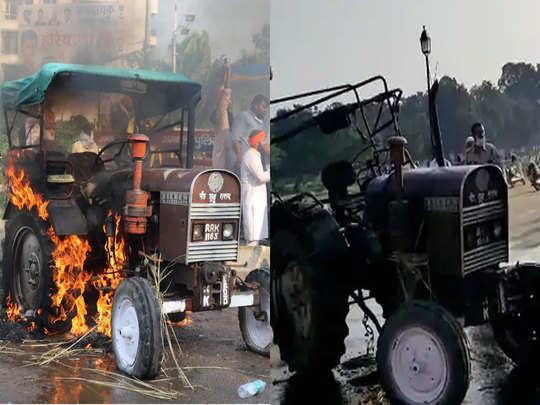 अंबाला (बाएं) और दिल्ली (दाएं) में जला ट्रैक्टर