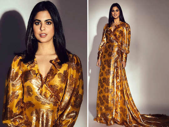 isha ambani golden wrap dress by monique lhuillier price is not affordable