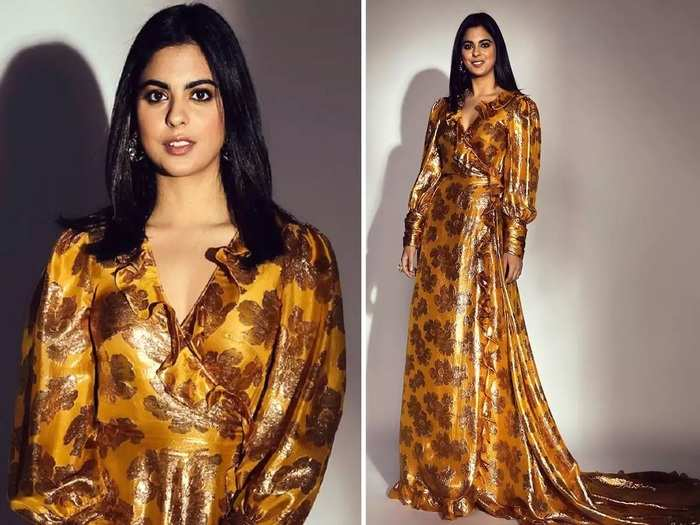 isha ambani wore golden wrap dress worth rupees 3 lakh see her stylish photo in Marathi