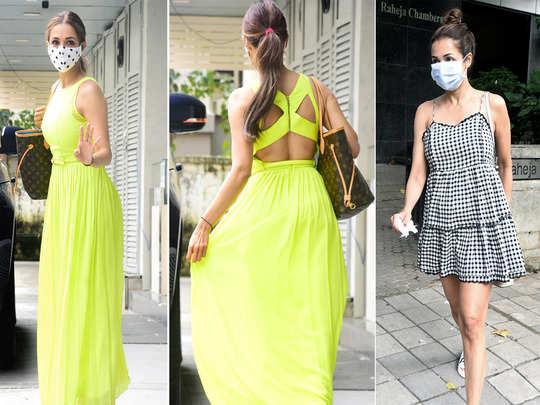malaika arora impresses with neon backless and short length dress