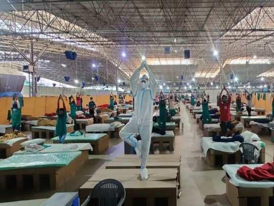itbp organizes yoga session at itbp run sardar patel covid care centre and hospital