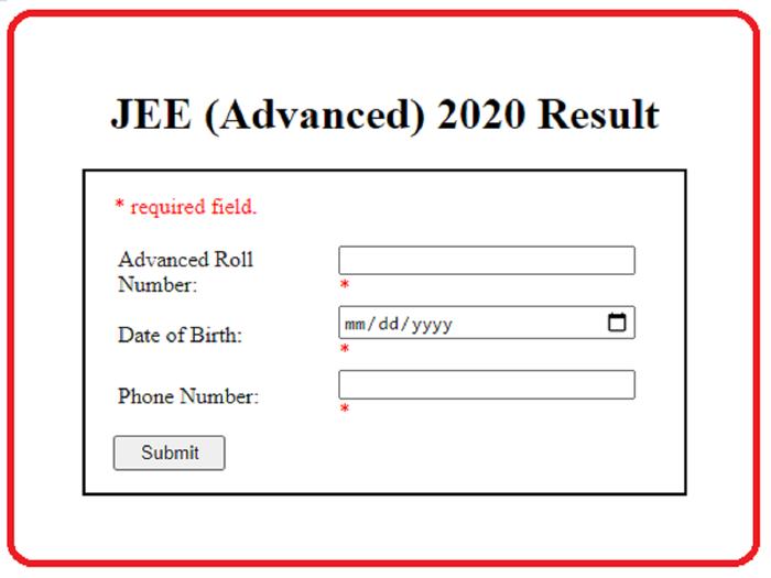jee advanced result