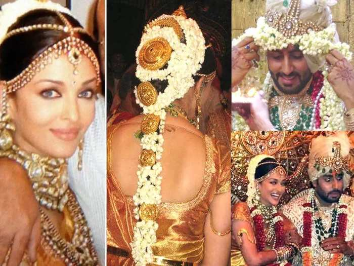 aishwarya rai bachchan wore a saree made of real gold thread and expensive crystal on her wedding in Marathi