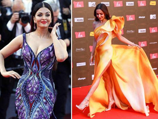 aishwarya rai bachchan and malaika arora butterfly gowns