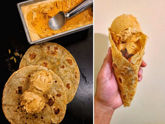 chai ice cream in a paratha cone