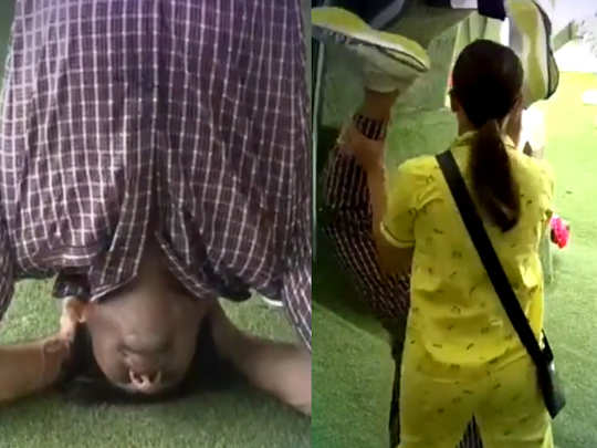 Sidharth Shukla Tries Headstand Yoga Pose