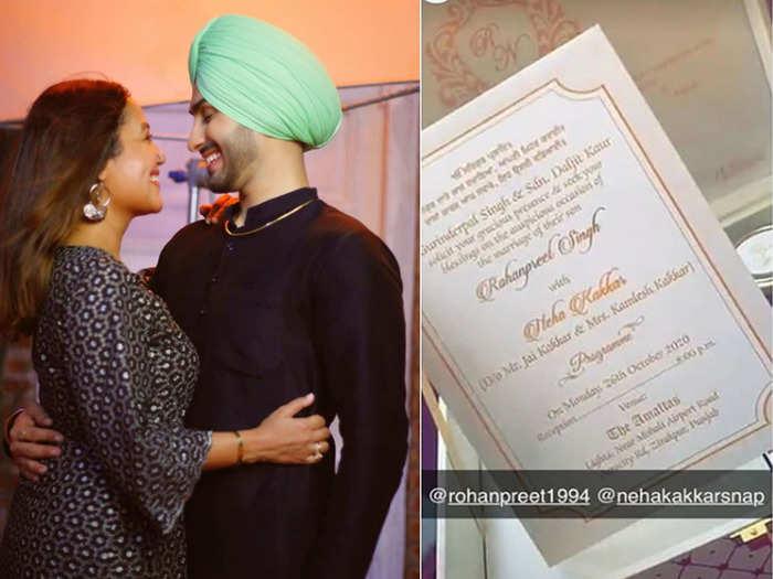 neha kakkar rohanpreet singh to tie the knot on 26 october in punjab wedding card goes viral