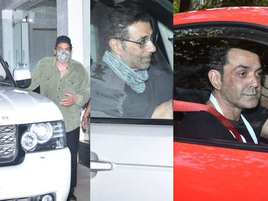 sunny deol celebrated his birthday with family members at their studio in juhu