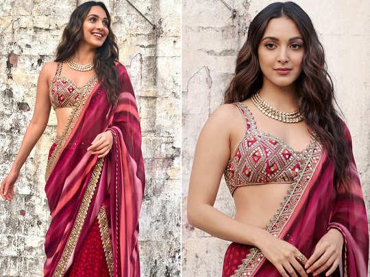 kiara advani looks beautiful in berry blurred polka print hand embroidered gharara by arpita mehta