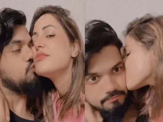 hina khan gets cosy with beau rocky jaiswal both plant kiss on each other after exit from bigg boss 14