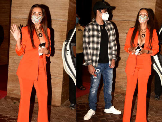 malaika arora slays the birthday girl look in orange pant blazer