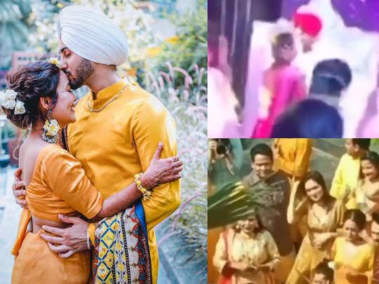 neha kakkar and rohanpreet sangeet ceremony videos go viral watch zabardast bhangra during haldi