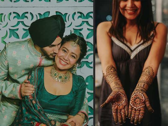 neha kakkar mehendi ceremony pictures she shared mehendi lagaungi main sajna rohanpreet singh ke naam ki