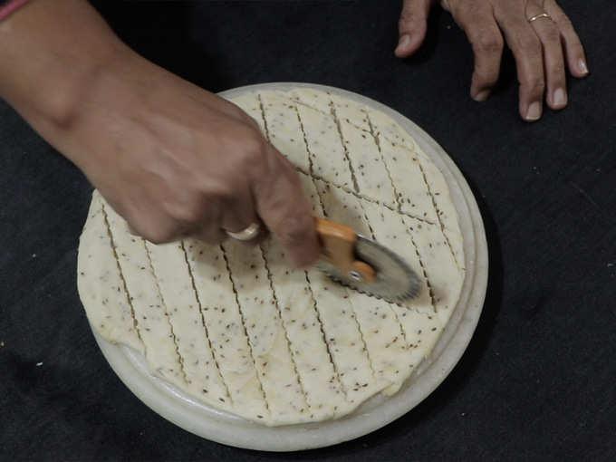 cut the dough into thin flat strips