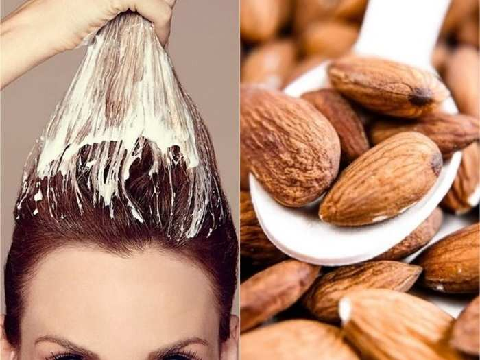 how to make homemade almond milk hair mask for hair growth in Marathi