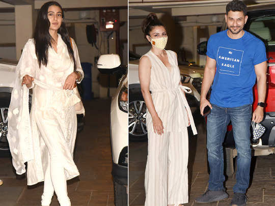 sara ali khan visited father saif ali khan in white suit
