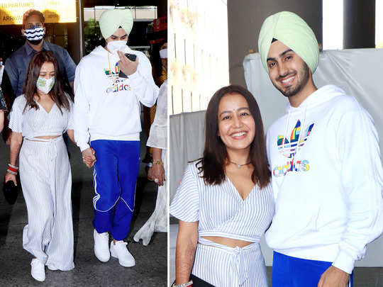 newly married neha kakkar returns to mumbai with husband rohanpreet singh in modern clothes