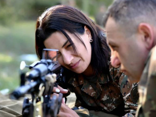 armenian pm wife anna hakobyan goes to the front in karabakh war taking military training for azerbaijan