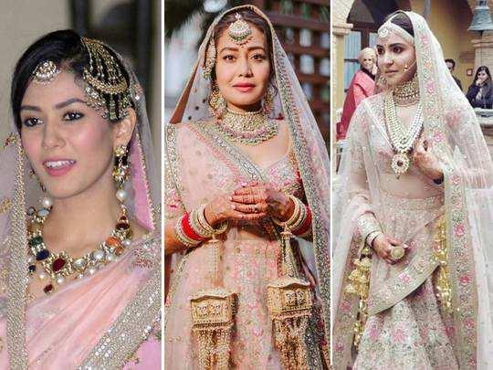 anushka sharma-mira rajput kapoor-neha kakkar bollywood brides chose pastel pink lehenga