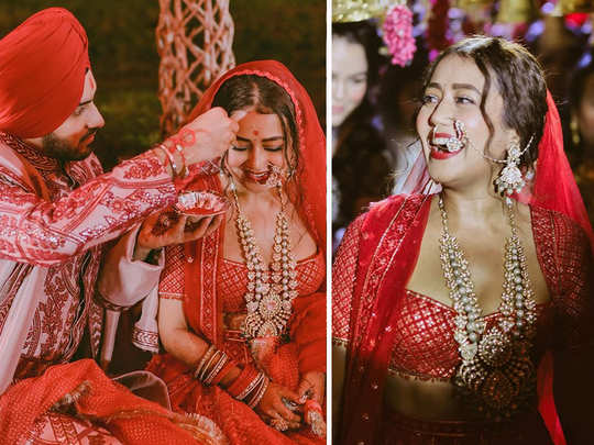 neha kakkar shared adorable pictures from the sindoor daan and said she is the happiest bride because of rohanpreet