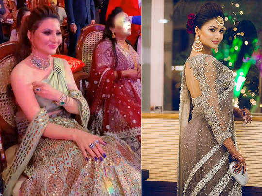 urvashi rautela looks uncomfortable in her very expensive reynu tandon lehenga for neha kakkar wedding
