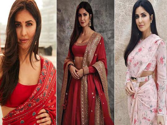 katrina kaif 5 saree and lehenga which you can wear in wedding puja or karwa chauth