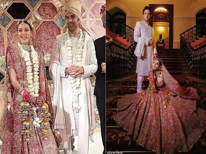 actress kajal aggarwal bridal look her wedding lehenga was designed by anamika khanna see photos in marathi