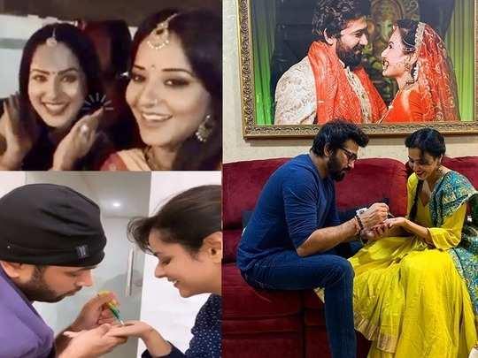 neha kakkar to kamya punjabi these tv actresses celebrating first karva chauth in 2020 husbands apply mehendi on their hands