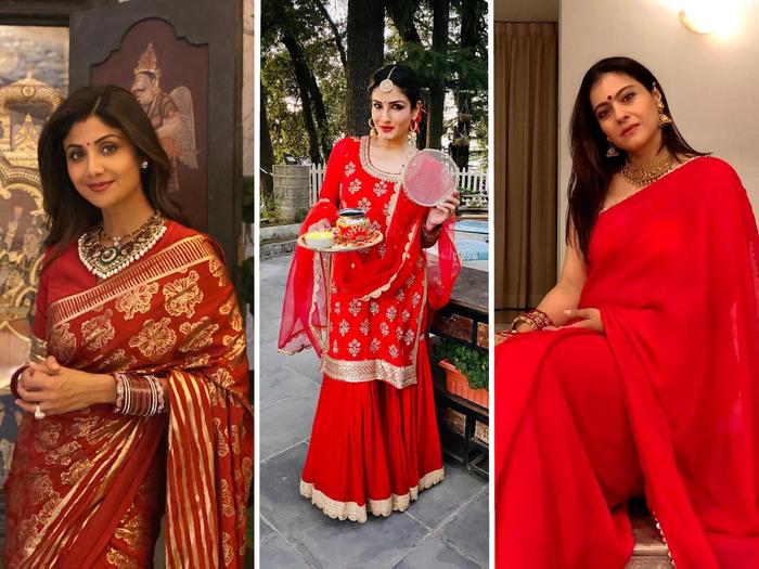 karwa chauth 2020 kajol to shilpa shetty looks beautiful in red