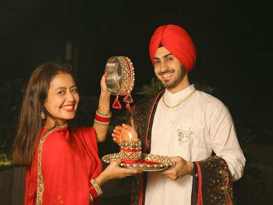 neha kakkar shares first karwa chauth pictures rohanpreet captions mera chand jyada sundar