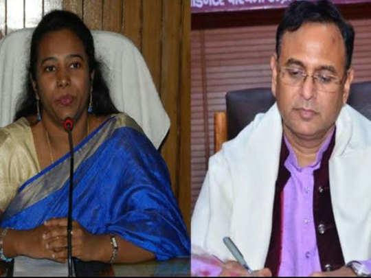 पूर्व डीएम सी. इंदुमती और बीजेपी विधायक देवमणि द्विवेदी