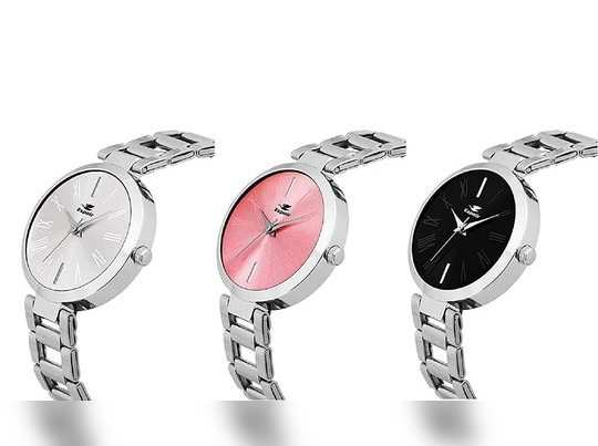 Espoir Analog Stainless Steel Combo Pack of 3 Multi Colour Dial Girls and Womens Watch - Manisha Combo White Pink Black